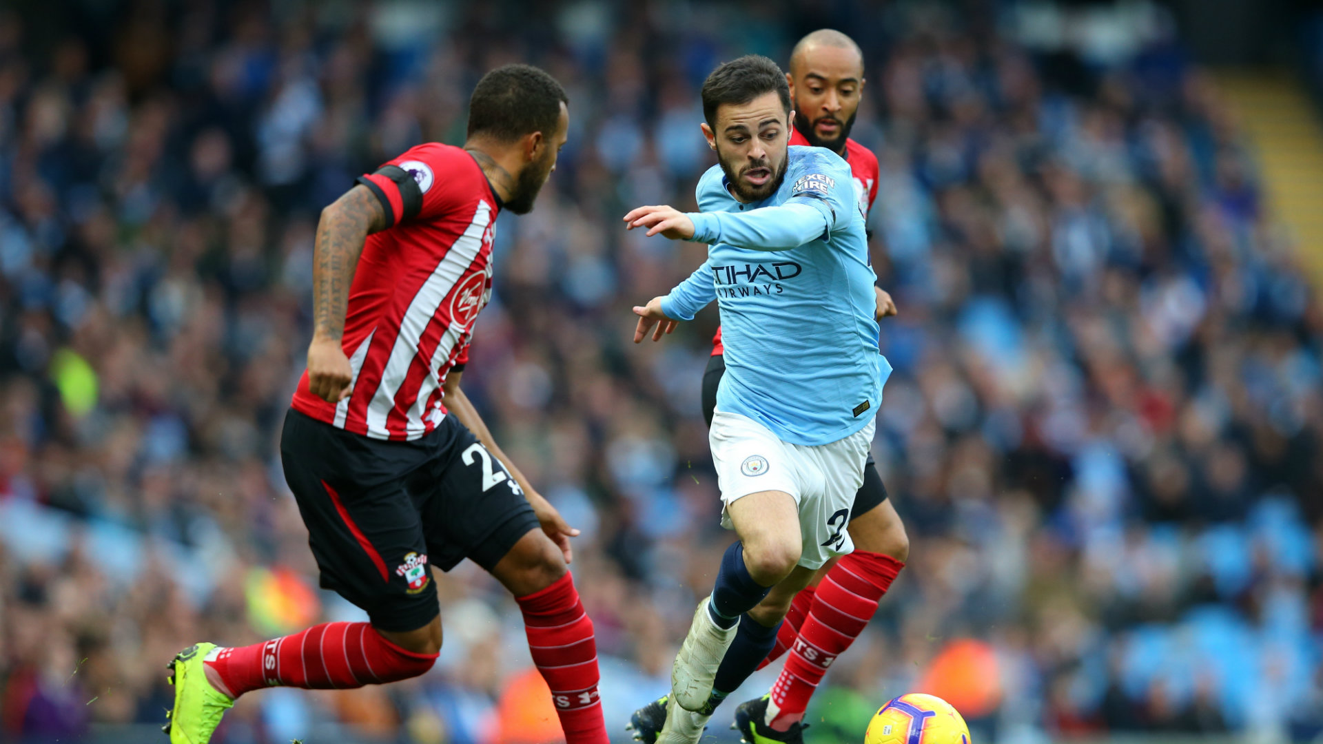 Bernardo Silva Ryan Bertrand Man City vs Southampton Premier League 2018-19