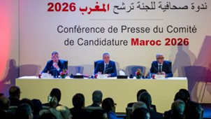 Fouzi Lekjaa, Moulay Hafid Elalamy and Rachid Talbi Alami Morocco 2026 World Cup Bid Press Conference Casablanca 2018
