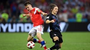 russia croatia - aleksandr golovin luka modric - world cup - 07072018