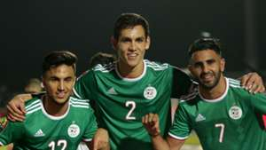 Adam Ounas, Aissa Mandi and Riyad Mahrez of Algeria celebrates a victory during Afcon 2019