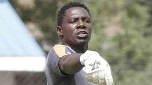 Gor Mahia keeper Boniface Oluoch issues instructions to the back four at Afraha Stadium in Nakuru on Sunday.
