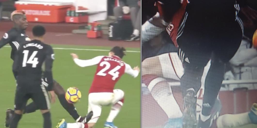 Paul Pogba tackle on Hector Bellerin