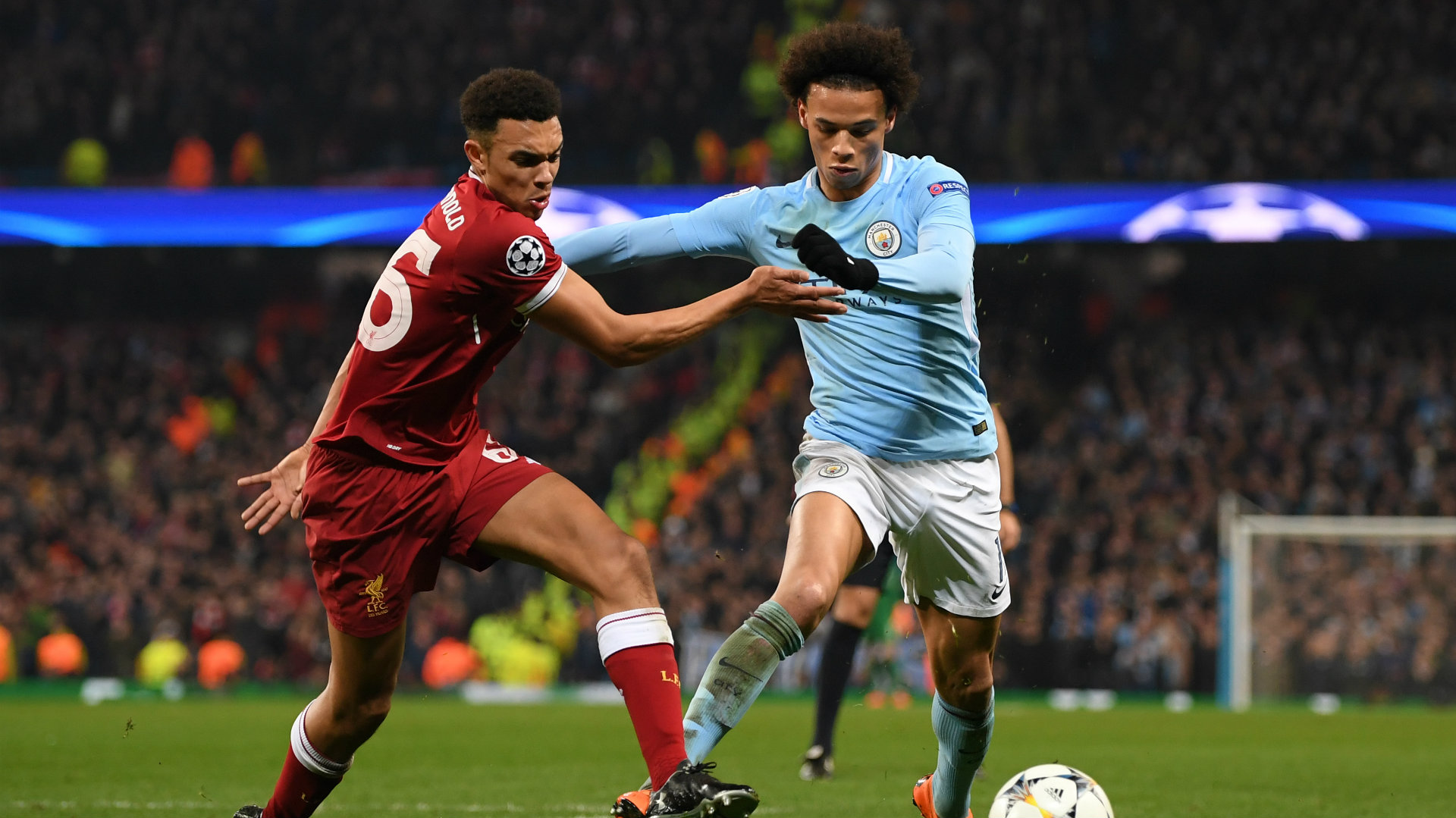 Trent Alexander-Arnold, Leroy Sane, Man City v Liverpool, Champions League, 17/18