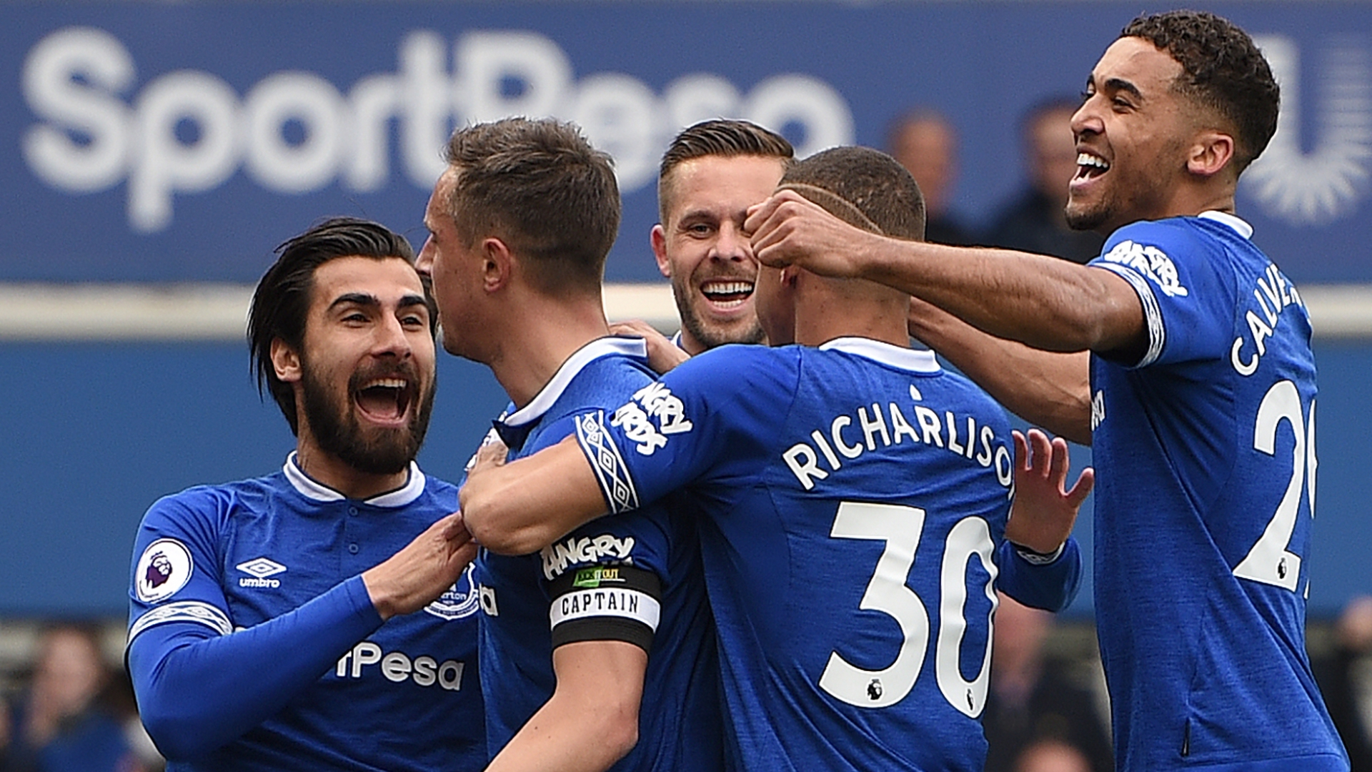 Everton celebrate Phil Jagielka's goal vs Arsenal, Premier League, 2018-19