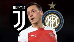 Mesut Ozil, Arsenal, Juventus logo, Inter logo