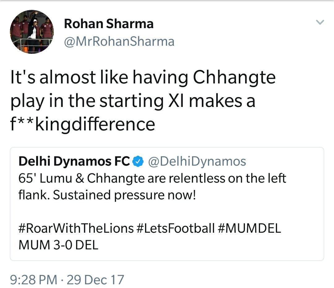 Delhi Dynamos Mumbai City Rohan Sharma