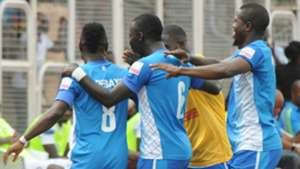 3SC players celebrates Abayomi Adebayo's goal vs Enyimba
