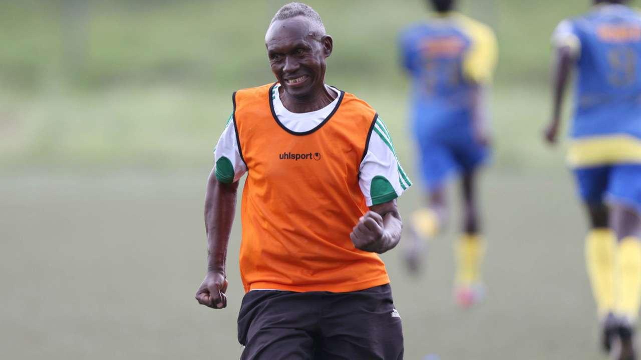 Western Stima coach Henry Omino celebrates against Mathare United.