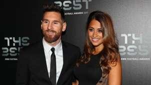 Barcelona forward Lionel Messi and wife Antonella