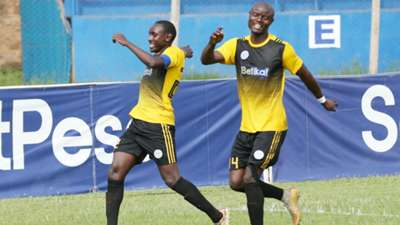 Sofapaka striker Stephen Waruru and Dennis Odhiambo.