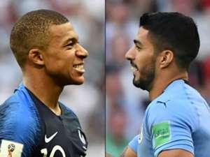 France Kylian Mbappe Uruguay Luis Suarez