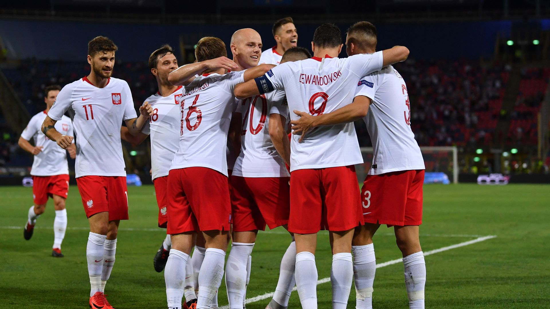 Poland players celebrating Italy Poland UEFA National League