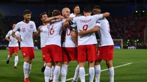 Poland players celebrating Italy Poland UEFA National League