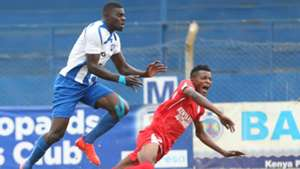 AFC Leopards striker Alex Omatorol and Bandari.