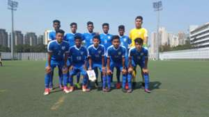 India U16 starting XI v Chinese Taipei in the Scoreboard at the Jockey Club International Youth Invitational Football Tournament