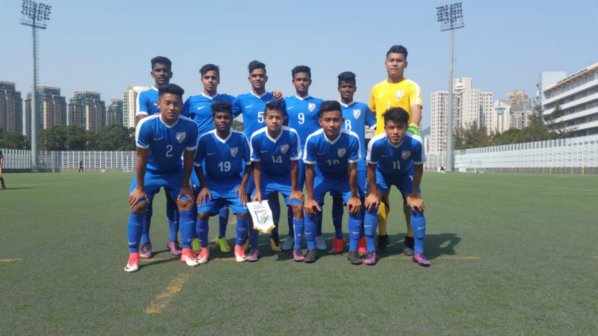 India U16 starting XI v Chinese Taipei in the Scoreboard at the Jockey Club International Youth Invitational Football Tournament