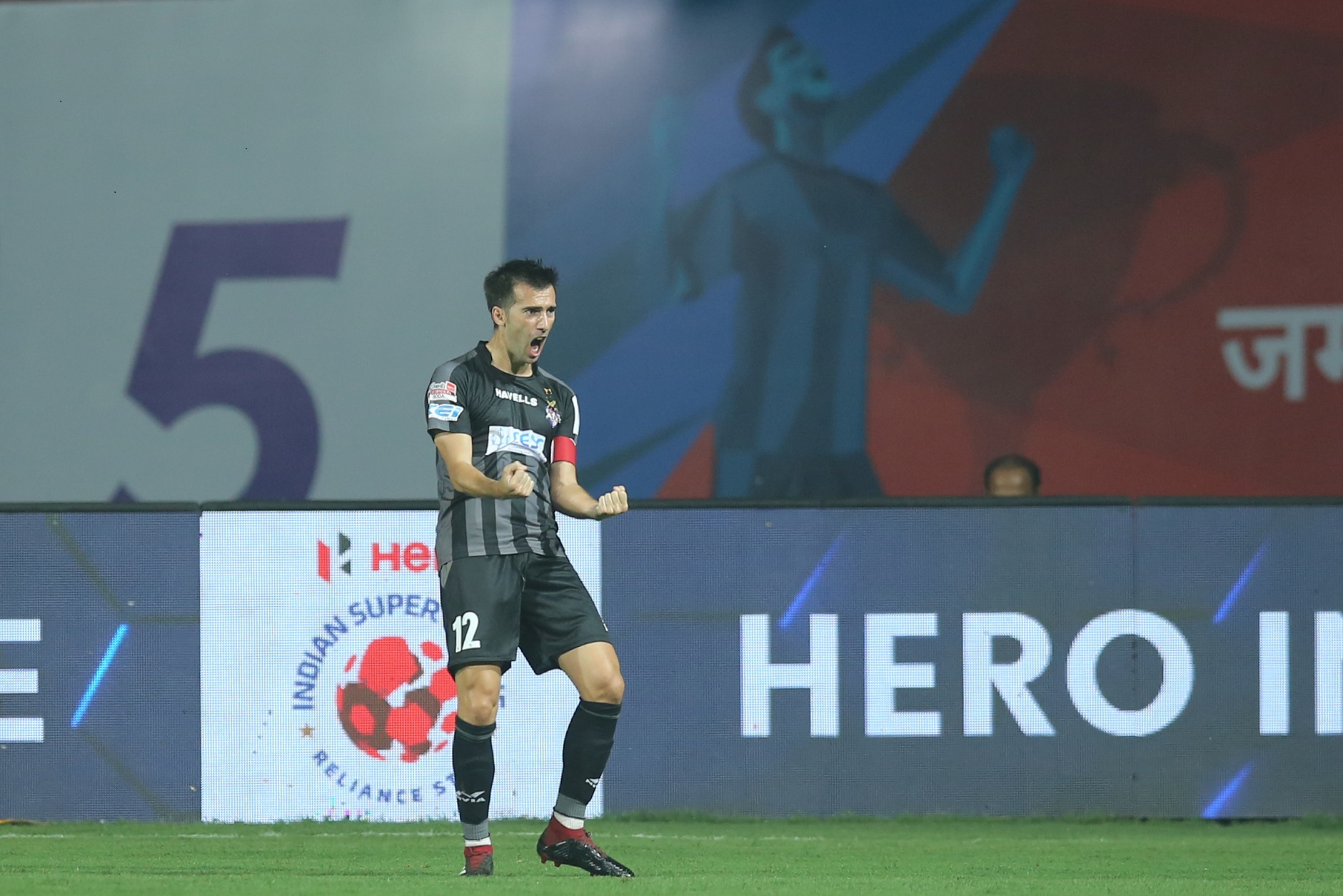 Manuel Lanzarote of ATK celebrates the goal against Jamshedpur FC and equalizes the match in Hero ISL