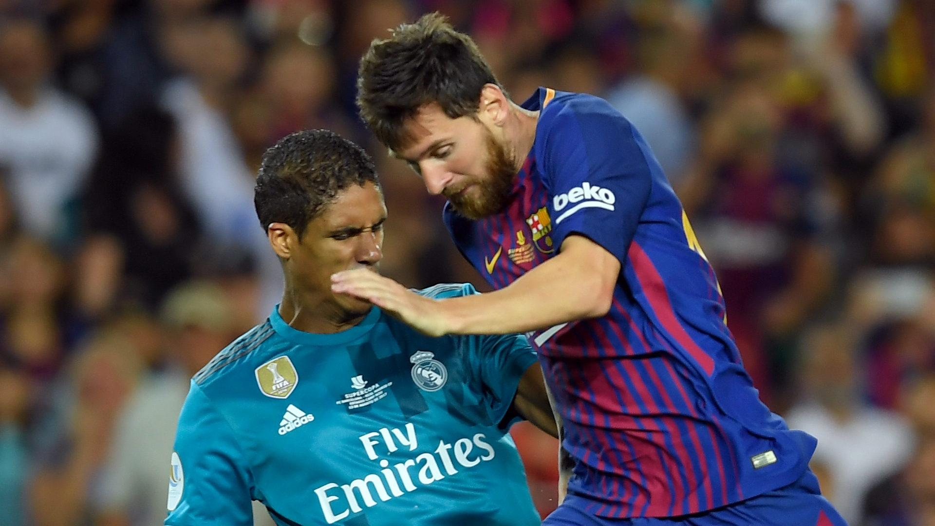 Raphael Varane, Real Madrid, Lionel Messi, Barcelona