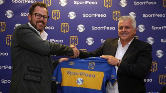 Cape Town City FC owner and chairman, John Comitis and Director of SportPesa in South Africa, Nick Ferguson