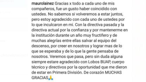 Despedida Mauro Lainez