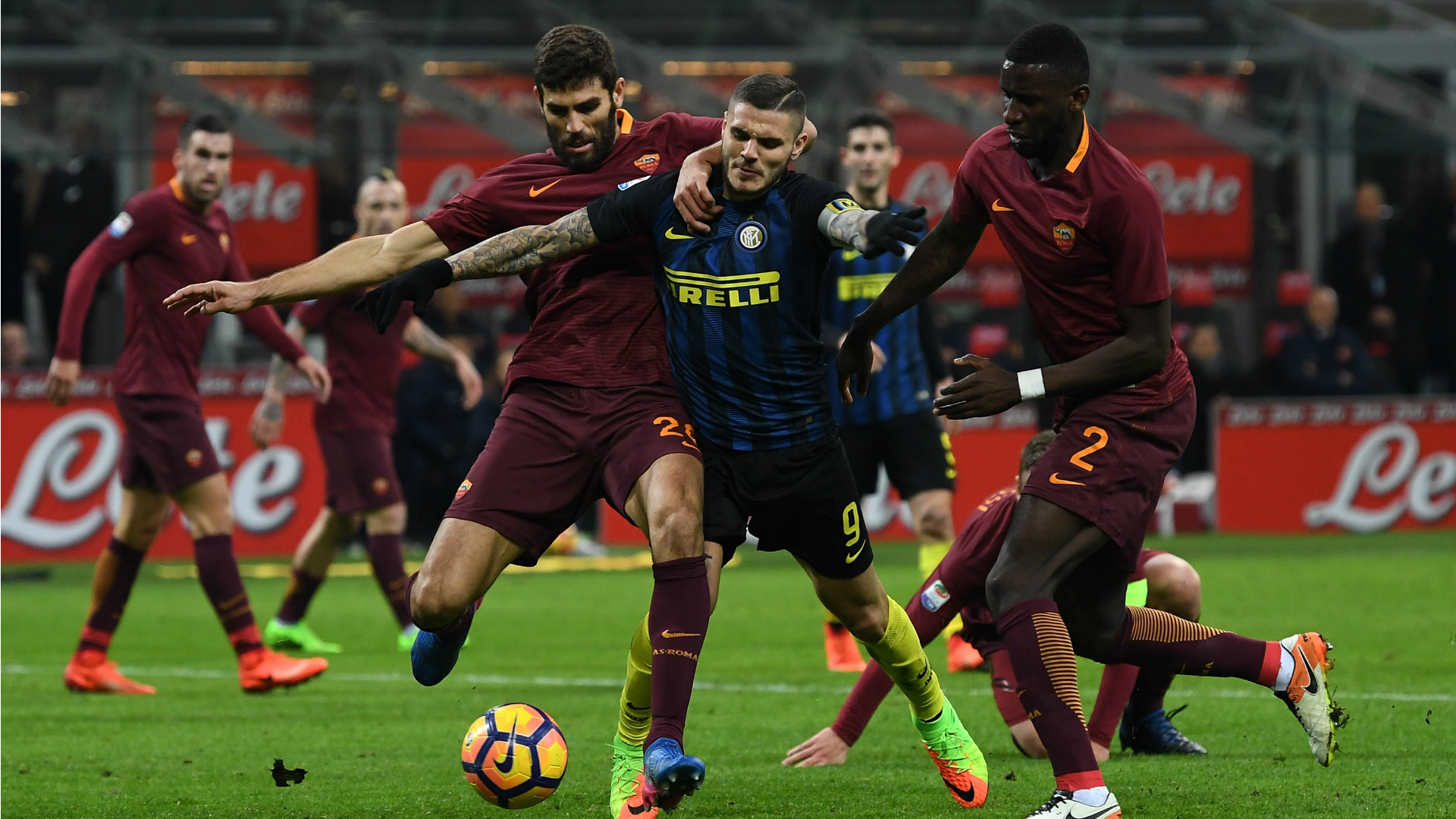 Federico Fazio Mauro Icardi Inter Roma Serie A 26022017