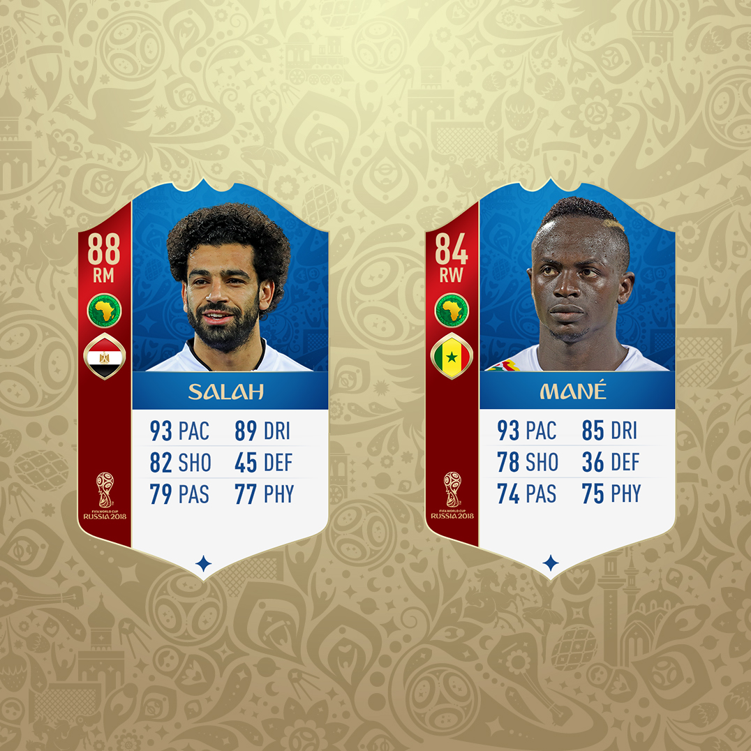 Salah and Mane FIFA cards