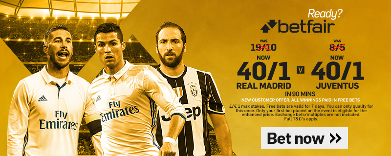 GFX Juventus Real Madrid 40/1 enhanced betting