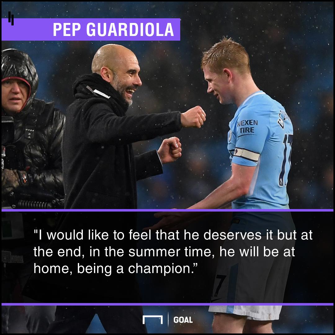 Pep Guardiola De Bruyne quote PFA