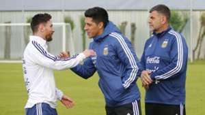 Enzo Perez Lionel Messi Argentina Training 10062018