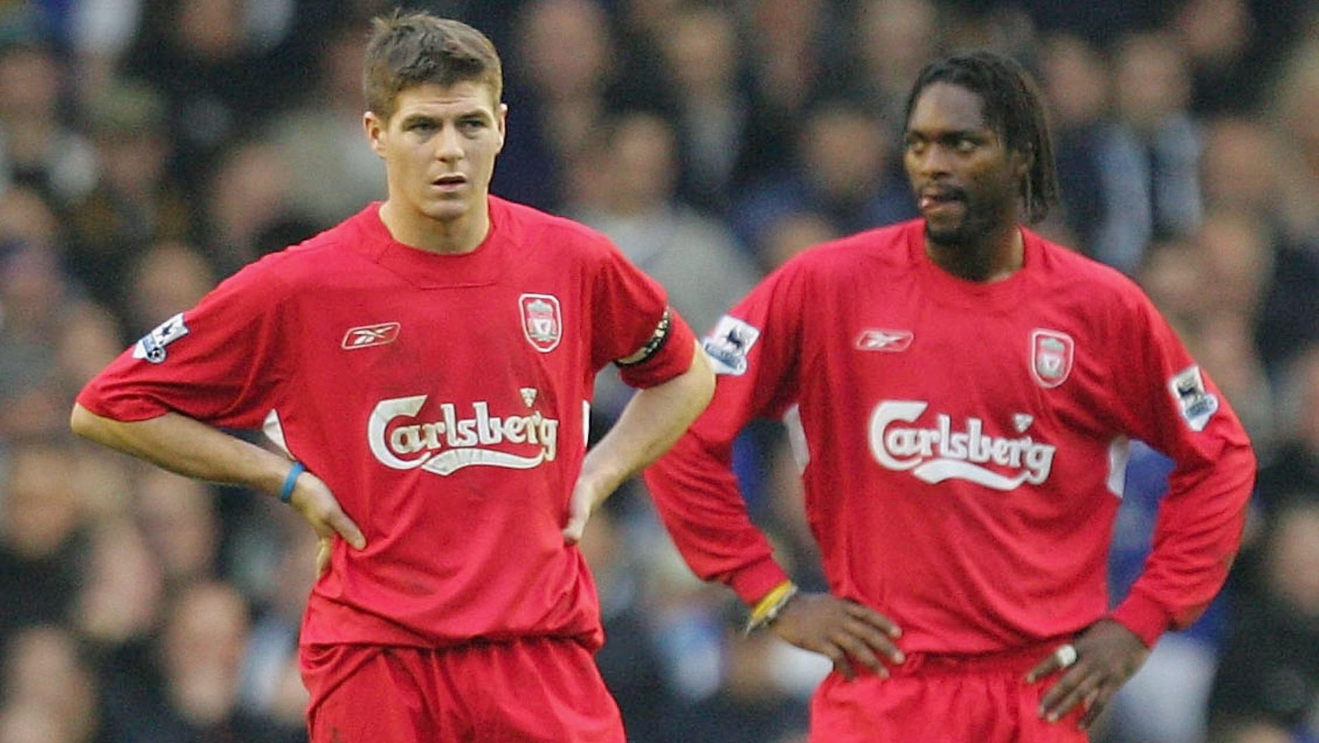 Steven Gerrard & Salif Diao of Liverpool