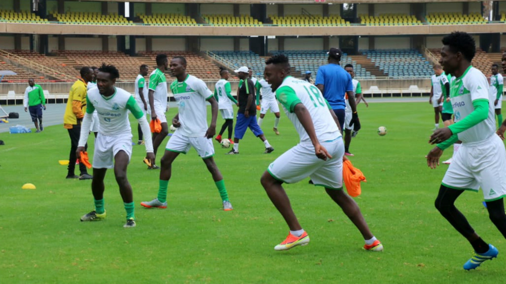 Gor Mahia players training to face Rayon Sports.