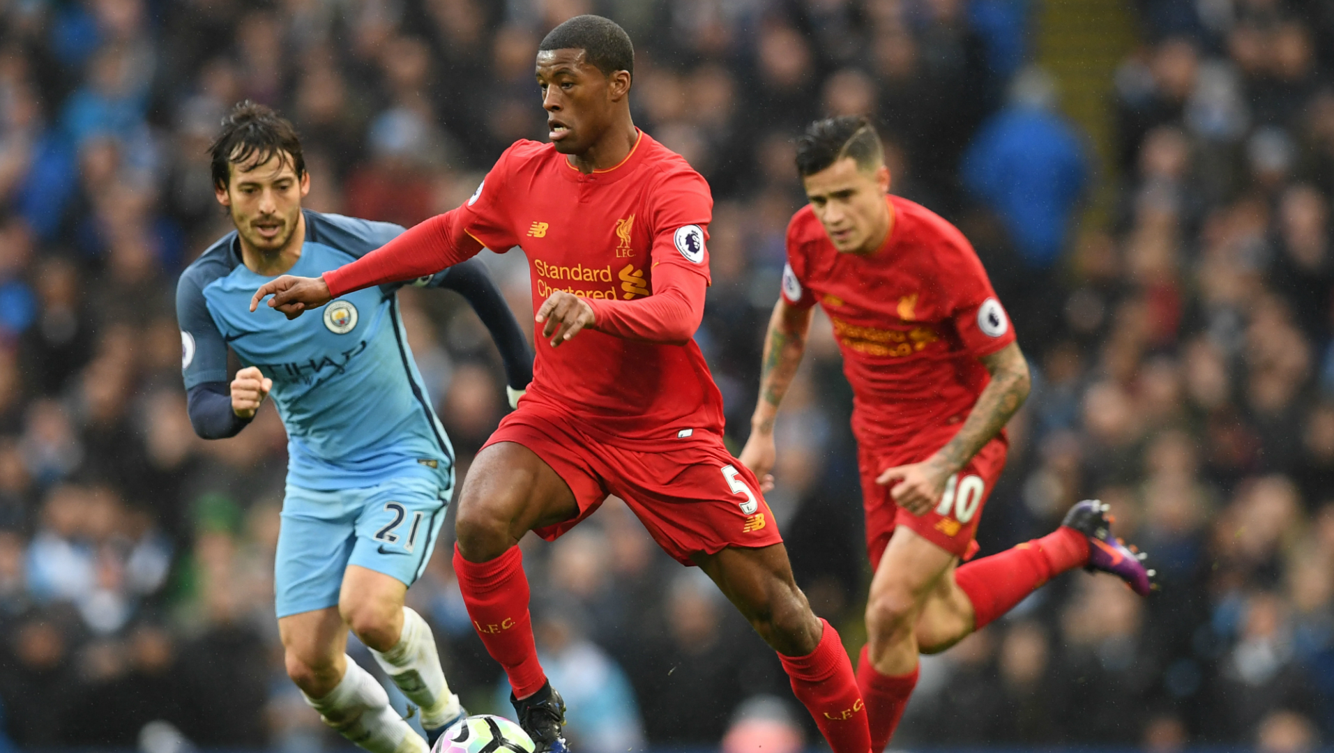 Georginio Wijnaldum, David Silva, Manchester City - Liverpool, Premier League, 03192017