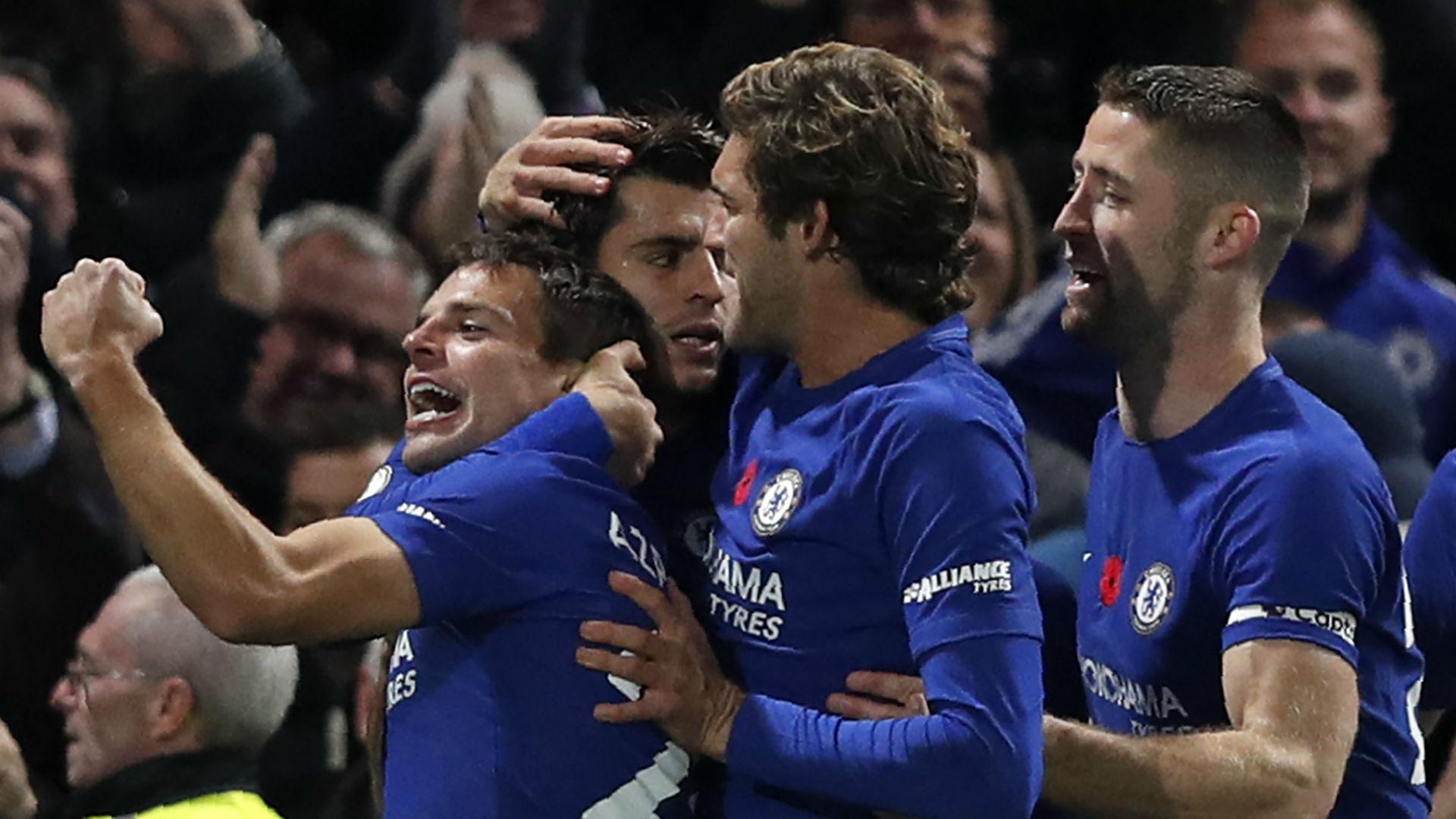 Chelsea celebrate v Manchester United