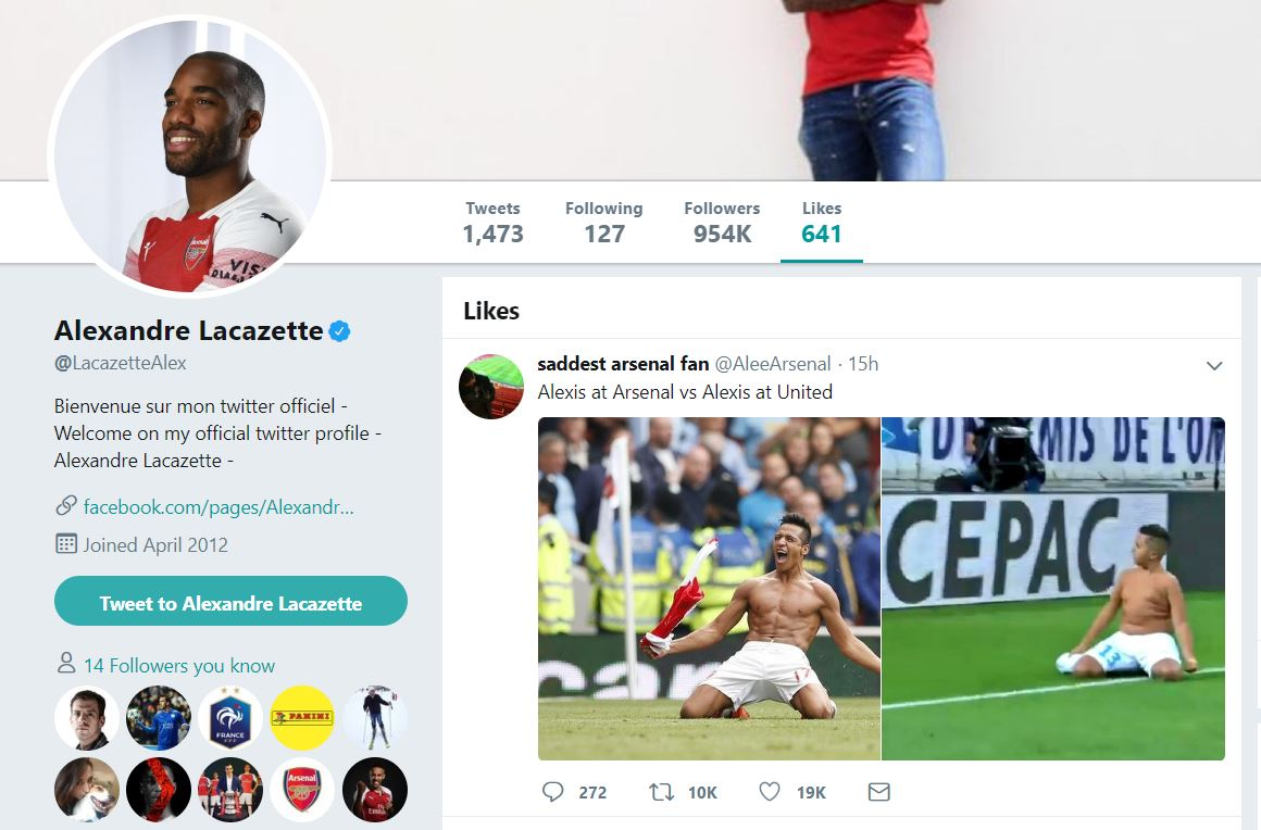 Lacazette Like Twitter