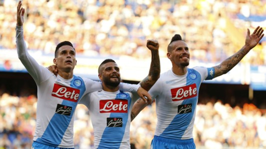 Callejon Insigne and Hamsik celebrating Napoli