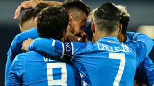 Napoli celebrating Bologna Serie A