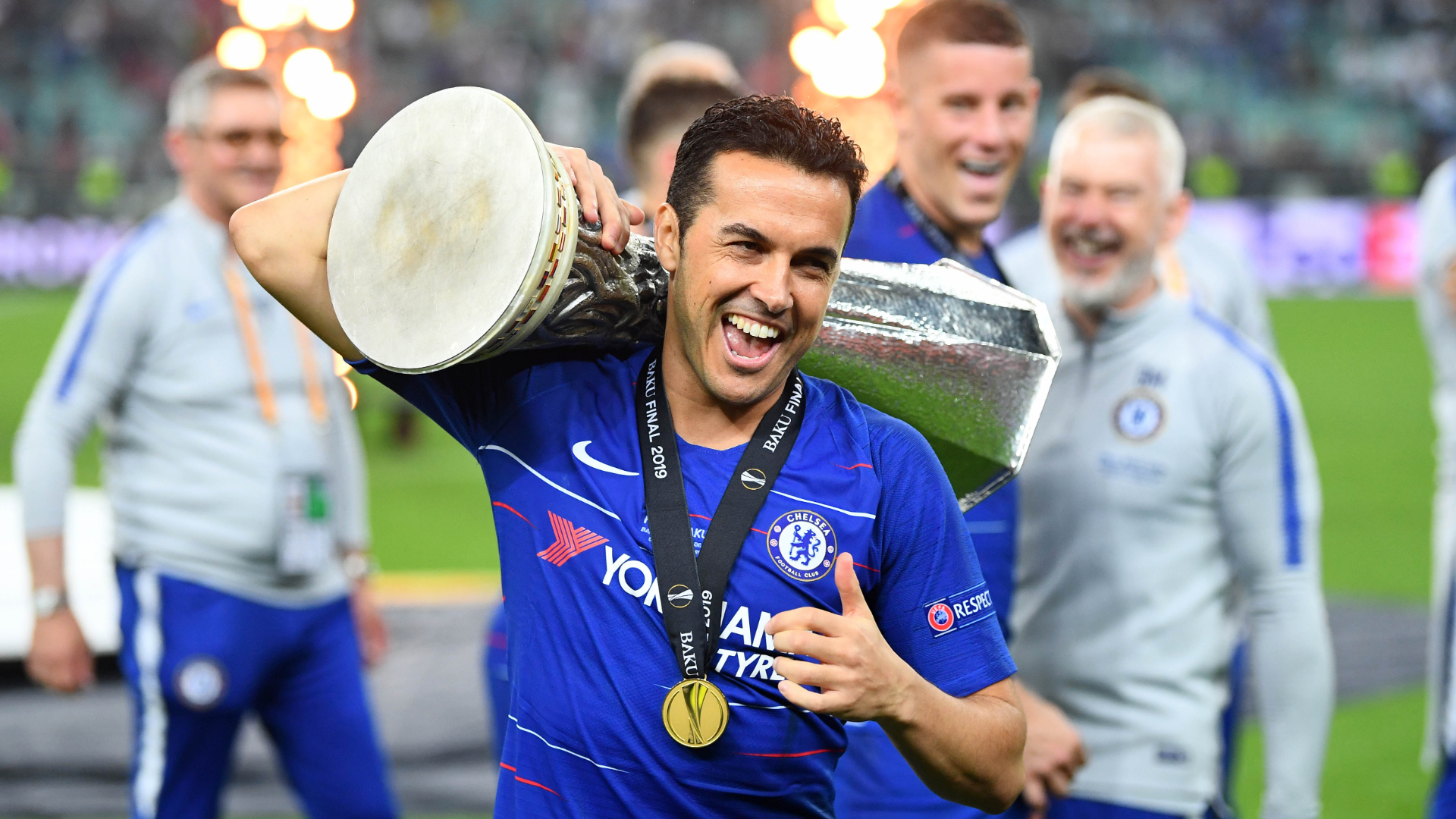 Image result for images of  Chelsea Pedro with Europa trophy
