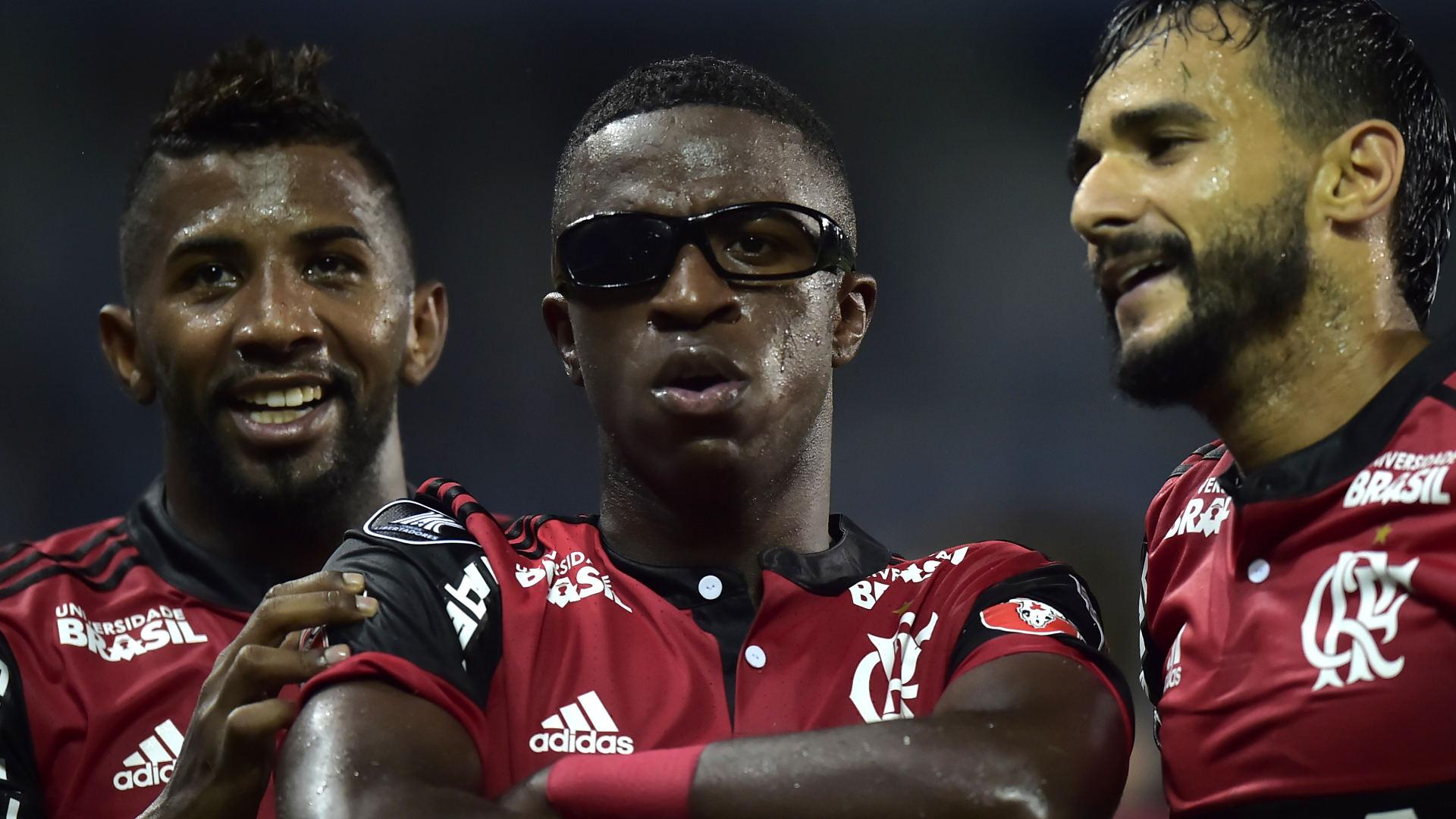 Vinicius Junior Rodinei Henrique Dourado Emelec Flamengo 14032018 Copa Libertadores