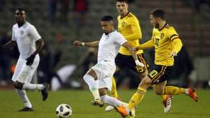 Omar Othman and Salem Aldawsari of Saudi Arabia, Thomas Meunier and Eden Hazard of Belgium friendly match on March 27, 2018 at the Koning Boudewijnstadion Stadium in Brussels, Belgium