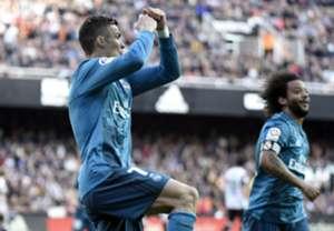 Cristiano Ronaldo celebrates against Valencia