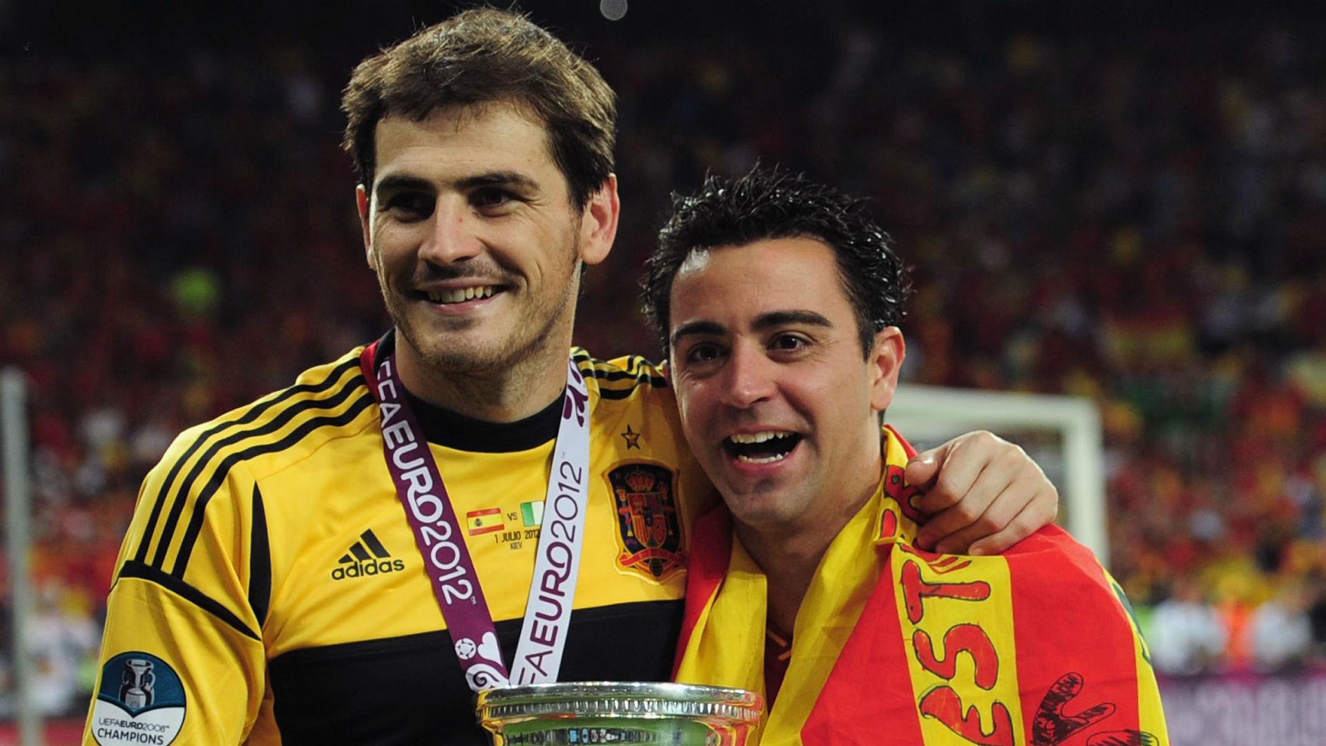 Iker Casillas Xavi Spain 2012