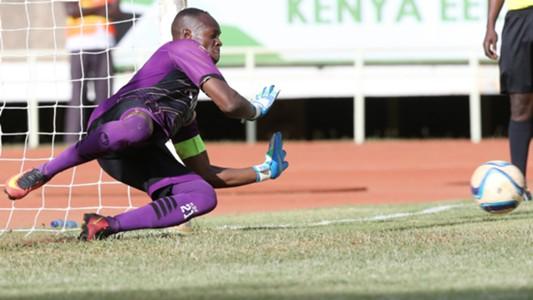 Ulinzi Stars keeper James Saruni saves penalty.