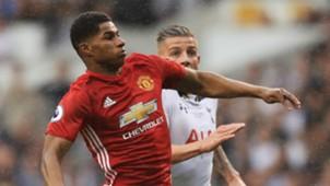 Marcus Rashford Toby Alderweireld Manchester United Tottenham