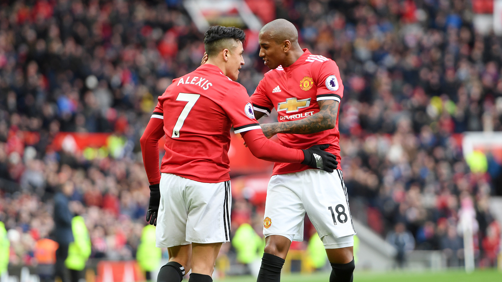 Alexis Sanchez Ashley Young Manchester United Swansea City Premier League
