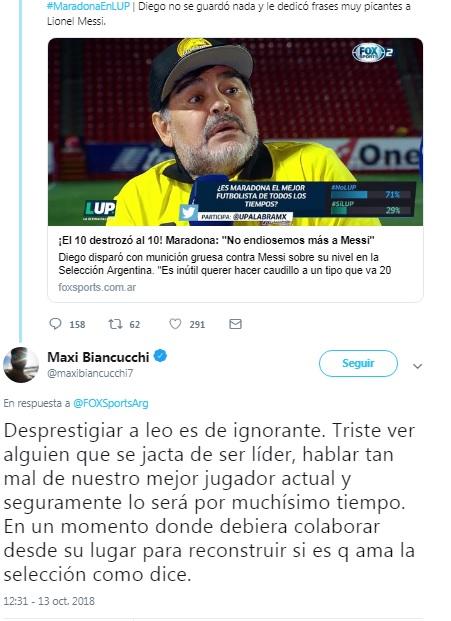 captura tw biancucchi maradona