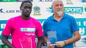 Patrick Aussems and John Bocco of Simba Mach 2019 Tanzania Premier League
