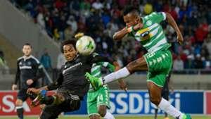 Didier Lebri of Bloemfontein Celtic and Issa Sarr of Orlando Pirates