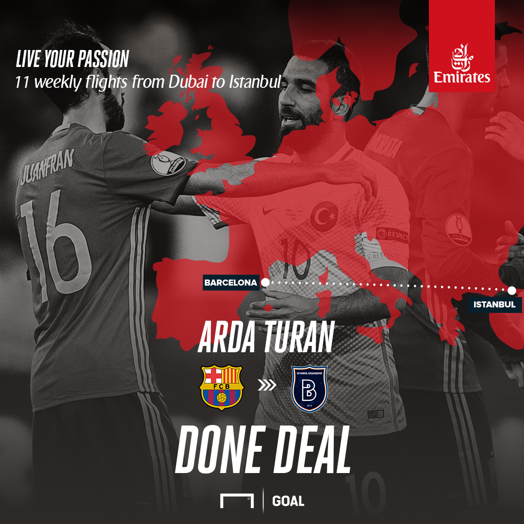 Arda Turan leaves Barcelona on loan, joins Istanbul Basaksehir
