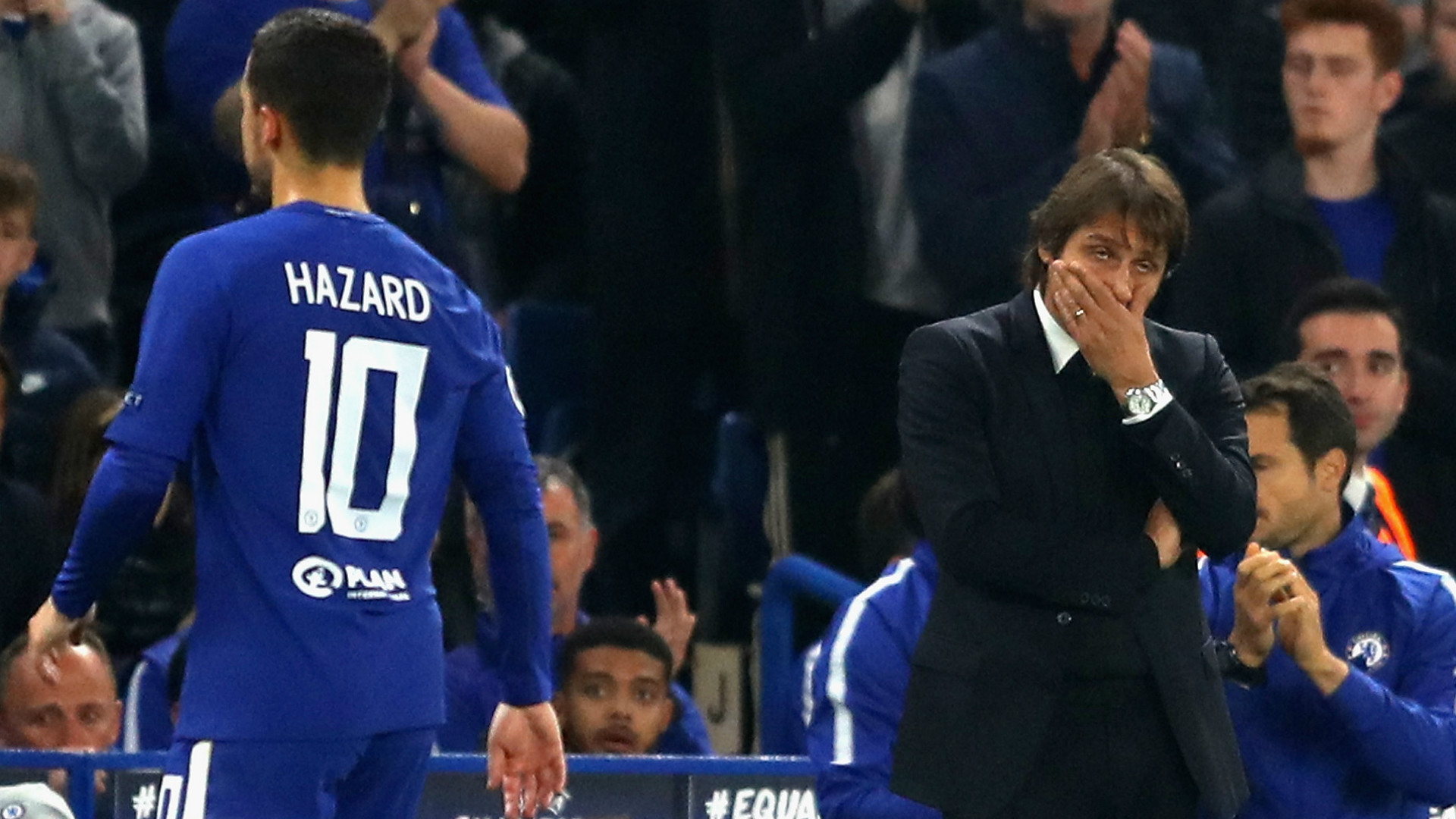 Eden Hazard Antonio Conte Chelsea 18102017
