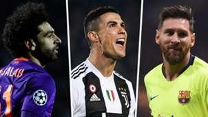 Mo Salah Cristiano Ronaldo Lionel Messi GFX